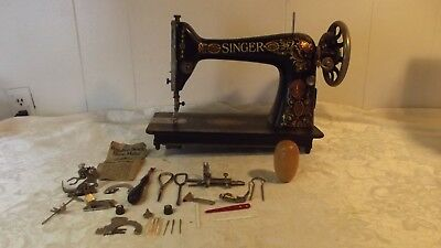 Antique Singer Sewing Machine with Attachments Model 15 Serial No G4900385