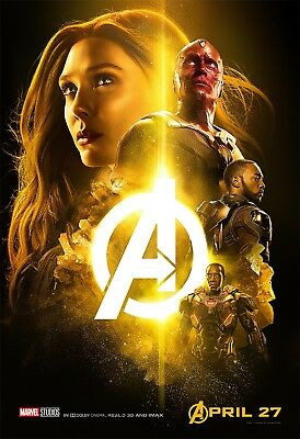 Avengers: Infinity War Movie Poster (24x36)-Mind Stone, Vision, Scarlet Witch v8