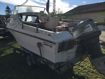 16FT Half Cabin Fiberglass and trailer with 90 HP Yamaha, selling Bargain Price