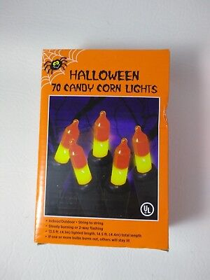 70 Candy Corn Indoor/Outdoor Halloween Lights String 14.5ft (4.4m) Steady Flash