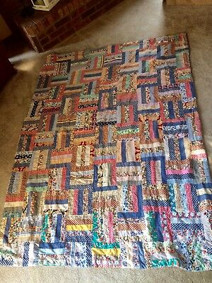 Vintage Hand Stitched Pieced  AMERICANA Quilt 59 X 80 Feedsack * Double Sided