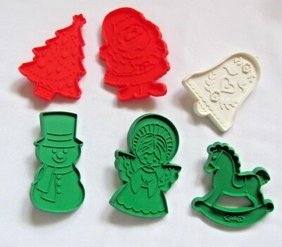 6 Xmas-Christmas Hallmark Cookie Cutters 2 Red 3 Green 1 White Plastic Pre-Owned