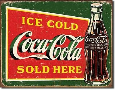 Coca Cola Coke Ice Cold Green Sold Here Advertising Vintage Retro Metal Tin Sign