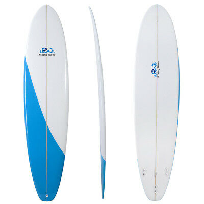 Rising Wave New 7'0 7'6 PU Funboard Surfboard in Blue & White with Leash & Fins