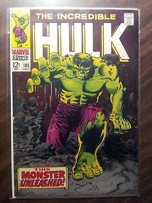 The Incredible Hulk #105 (Jul 1968, Marvel) OFF WHITE TO WHITE PAGES! 6.0/FN