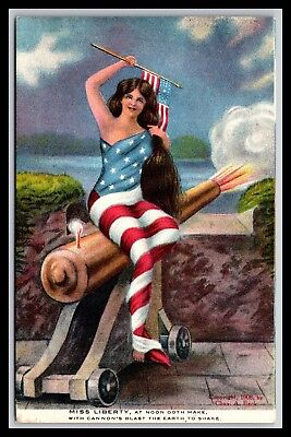 Miss Liberty Cannon Postcard By Chas Beck 1908, Set Of 4, Number 2 (Noon)