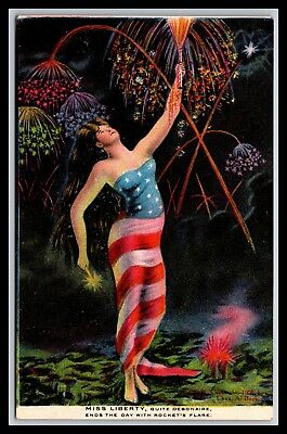 Miss Liberty Fireworks Postcard By Chas Beck 1908, Set Of 4, Number 4 (Night)