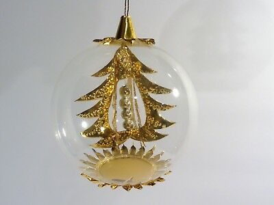 """Italy Blown Glass Diorama 3"""" Ornament - Gold Christmas Tree"""