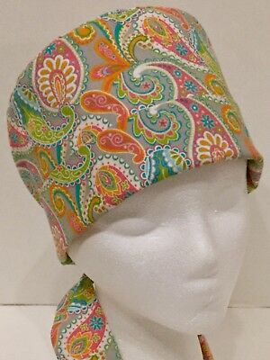 Paisley Print Pixie Medical Surgery OR Scrub Hat Chemo Cap