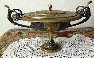 Antique Gilded Bronze Lidded Compote Greco//roman Revival With Medallions