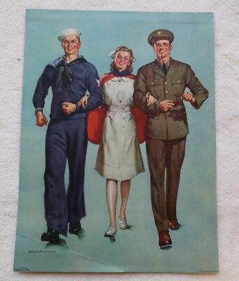 WWII Vintage Calendar,1942,  Spirit of the USA, Harold Anderson, Nurse, Soldiers