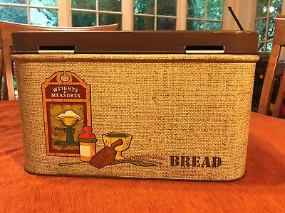 """Vintage Bread Box, """"Weight and Measures"""", metal"""