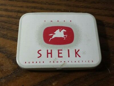 Vintage Collectible Sheik Rubber Prophylactic Condom Tin With 3 Condoms