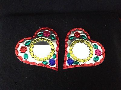 """Set Of 2 4"""" Tin Frames Hand Made In Oaxaca, Mexico"""