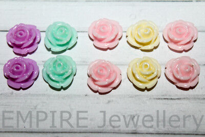 10 x Sweet Little Rose Resin Flatback 13x12mm Flower Daisy Cabochon Cameo