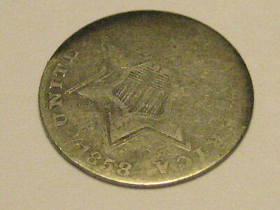 1858 Ty II Three Cent Silver Piece Good