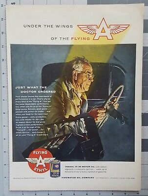 1956 Flying A Motor Oil Doctor House Calls George Hughes Art Vintage Print Ad