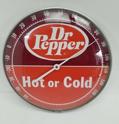 "Vintage 12"" Dr Pepper Dome Glass Soda Pam Advertisement Thermometer USA Hot Cold"