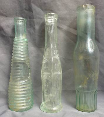 THREE ASSORTED FOOD BOTTLES-Cathedral / Ringed Pepper Sauce-Fluted Berry-1890s