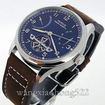 43mm Parnis Black Dial Power Reserve Automatic Date Mechanical Mens Watch