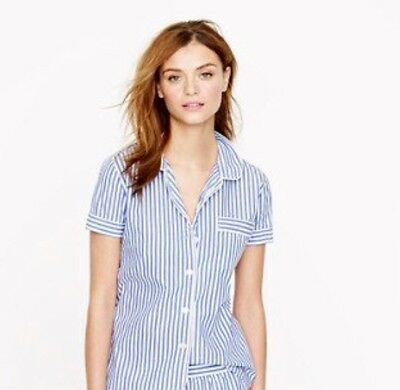J Crew NWT Striped Pajama Top Blouse Vintage Style Womens Large