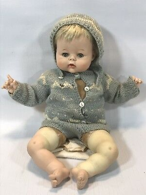 """Vintage 1961 Madame Alexander Labeled """"Kitten"""" Doll 14"""" for Parts Or Repair"""