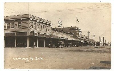 Street old cars, sign Billiards Brewery Deming New Mexico NM photo rppc Postcard