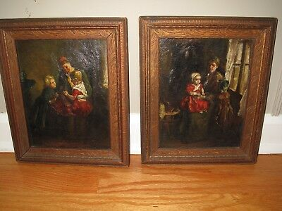 Pair of ORIGINAL ANTIQUE DUTCH OIL PAINTINGS on CANVAS w Matched Frames
