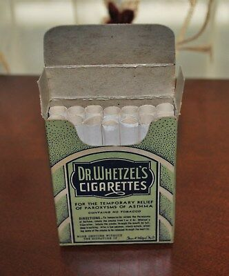 Antique Pharmacy Medicine Dr. Wheetzel's Asthma Cigarettes