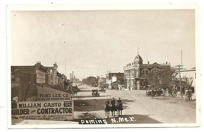 Street soldiers horse, old cars, stores Deming New Mexico NM photo rppc Postcard