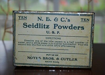 Antique Pharmacy Medicine Seidlitz Powders Tin