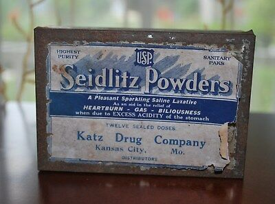 Antique Pharmacy Medicine Seidlitz Powders Tin Katz Drug