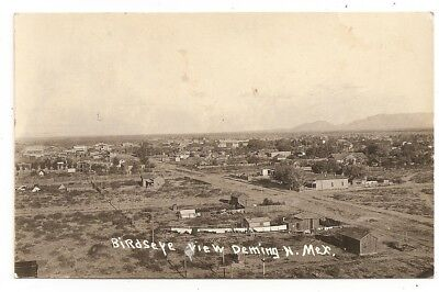 Birds Eye panorama houses, clothes line Deming New Mexico NM photo rppc Postcard