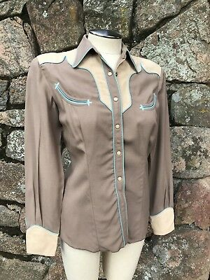 1940's Vintage Circle A Western Wear Women's Western Shirt Brown Beige Blue