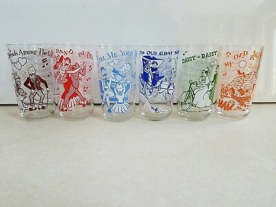 Set of 6 VTG 1950s Hazel Atlas Big Top Peanut Butter Song Melody Series Glasses