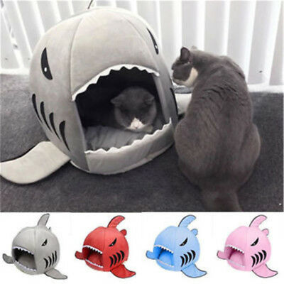 Pet Products Supplies Dog Cat Portable Sleeping Bed Warm Soft Shark Sponge House