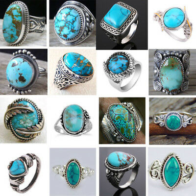 Vintage Blue Turquoise Ring Tibetan Silver 925 Men Women Band Jewelry Xams Gift