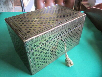 Antique English Tea Caddy - Coromendal Wood in French Boulle Inlaid Brass