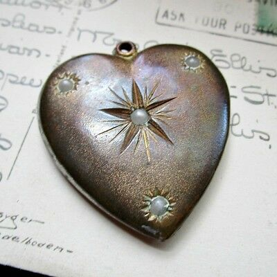 Large Vintage Heart Pendant - Faux Pearls - Victorian Revival - 1930s to 1940s