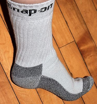 3 Pairs Mens GRAY Snap On Crew Socks L ~ FREE Shipping ~ MADE IN USA     New!