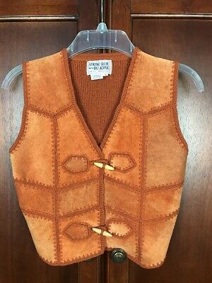 Vintage Patched Suede Boho Style Sweater Vest Size Medium Orange