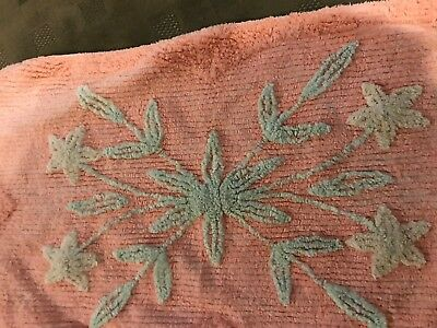 Vintage Chenille 2 Tone Peach, green FLORAL Rug Bath Mat Cottage Shabby  19 x 34