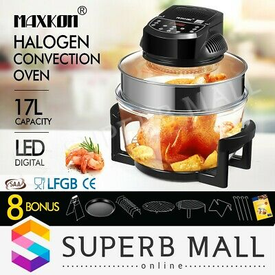 17L Halogen Electric Convection Oven Turbo Cooker Air Fryer 3Hr-Timer LED Screen