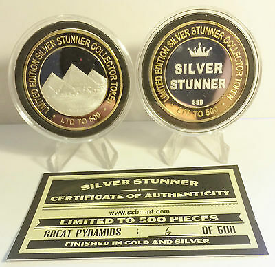 """Great Pyramids"" 43mm SILVER STUNNER TOKEN/COIN, C.O.A. 500 Made $50 at Mint"
