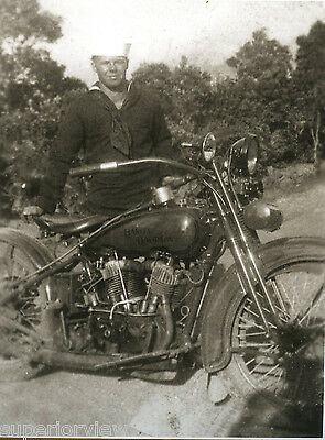 Vintage Harley Davidson Motorcycle 1927 J and World War Two Sailor MUST SEE