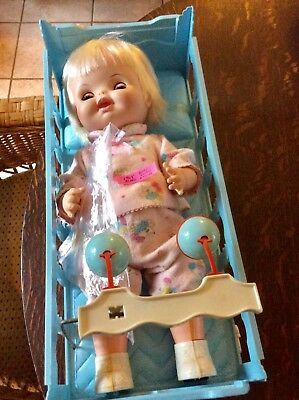 """Vintage Remco 1968 """"Baby Grow A Tooth"""" All Original With Crib HTF"""