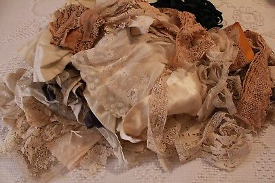 Lot of Antique Lace Trim Dainty French Irish Crocheted Filet Embroidered Beaded