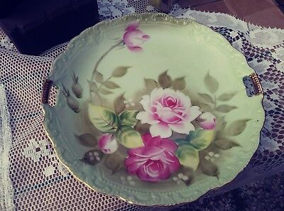 Vintage Lefton Hand Painted Open Handle  Plate Pink Roses w Gold Trim