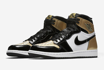 Nike Air Jordan 1 Retro High OG NRG 861428 007 Black Metallic Gold Toe  Authentic cc8c1feeb