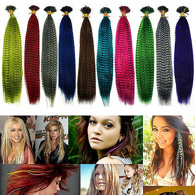 """5/10/20/50PCS 16"""" Grizzly Synthetic Feathers Hair Extensions - 10 Color Choose"""